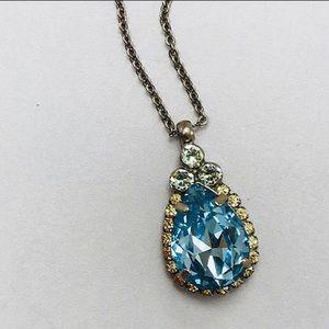 Sorrelli Aquamarine Teardrop Crystal Pendant, NWT